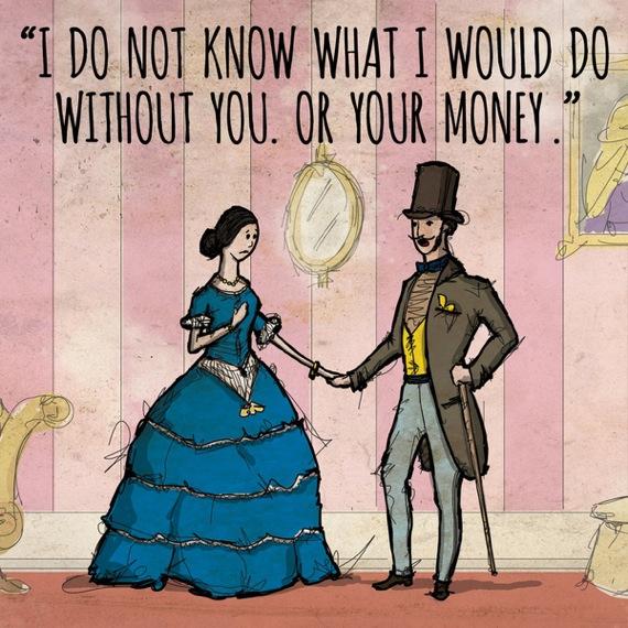 女性が男性に向かって あなたなしでは生きていけない。というか、あなたのお金。